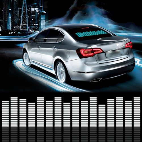F and B Led Light Sound Music Beat Activated Car Stickers Equalizer Glow LED Light Audio Voice Rhythm Lamp (18In X 4.5In (45cm X 11cm), Blue)