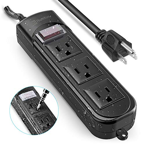 Power Strip Surge Protector Humtus Anti-Electric Shock Weatherproof Power Strip 3-Outlets and 6 Feet Long Cord with Overload Protection for Home Cruise Ship Garden Office, 1650W/15A Black