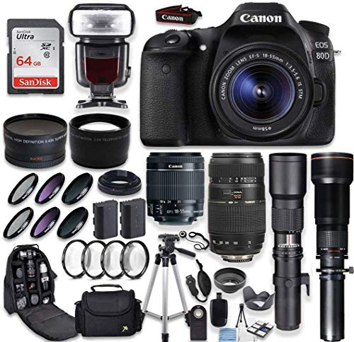 Canon EOS 80D DSLR Camera + Canon EF-S 18-55mm + Tamron 70-300mm Lens + 500mm & 650-1300mm Telephoto Preset Lens + Wide Angle & Telephoto Lens + Macro Filter Kit + 64GB Memory Card + Accessory Bundle