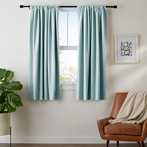 AmazonBasics Room Darkening Blackout Window Curtains with Tie Backs Set, 52' x 63', Seafoam Green