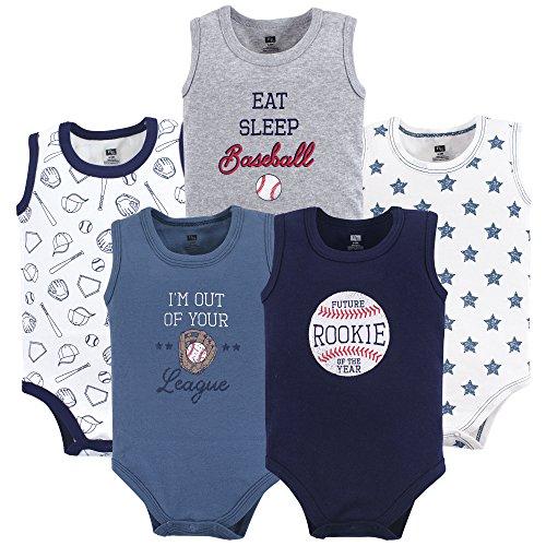 Hudson Baby Unisex Baby Cotton Sleeveless Bodysuits, Baseball, 6-9 Months
