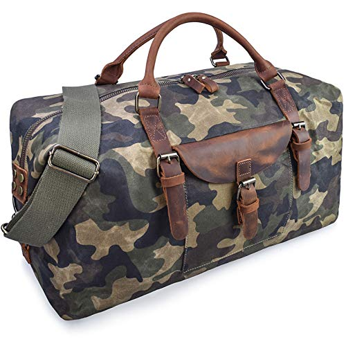 Oversized Travel Duffel Bag Waterproof Canvas Genuine Leather Weekend bag Weekender Overnight Carryon Hand Bag Camo