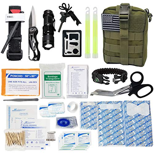 GOOD JOURNEY Emergency Survival First Aid Kit with Tourniquet and Outdoor Gear IFAK Tactical First Aid Molle Trauma Bag for Earthquake, Camping, Car or Home Disaster Preparedness