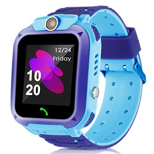 Kids Smart Watch Phone for Boys Girls GPS Tracker Touchscreen Waterproof Wristband Sport Watch with Phone Call Camera SOS Flashlight Digital Smartwatch Children Birthday Christmas Xmas Gift (Blue)