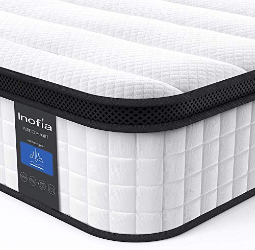 Twin Mattress, Inofia 10 Inch Hybrid Innerspring Single Mattress in a Box, Cool Twin Bed Supportive & Pressure Relief with Breathable Soft Knitted Fabric Cover