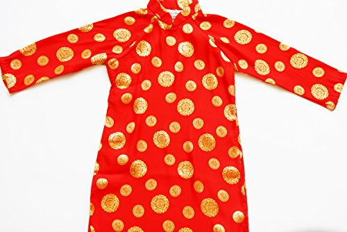 Ao Dai, Vietnamese Traditional Dress for Girls - Red Aodai with White Pants Size#10