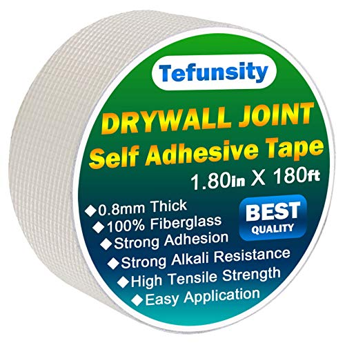 Drywall Joint Tape-1.80-Inch X 180Feet,Self-Adhesive,Heavy-Duty Self-Adhesive Wall Crack and Seam Patch(New Version)