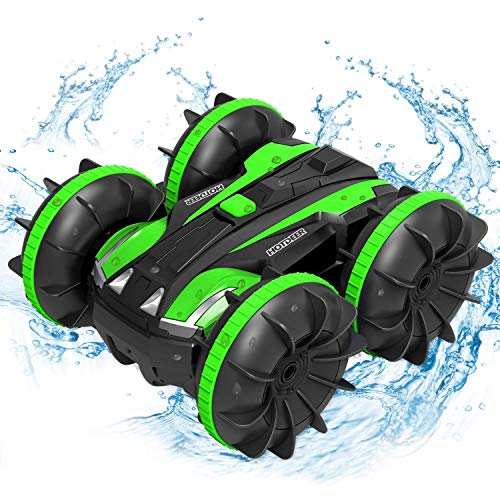 Waterproof Remote Control Truck Boat - Toys Gift 2020 New Edition 1:18 4WD 2.4Ghz Amphibious Rotating Tumbling 360° RC Off Road Stunt Car for Kids 3 4 5 6 7 8 Years Old