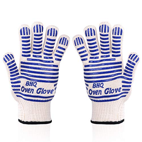 CZSYZCZS Oven Gloves Oven Glove BBQ Glove Mitt Glove Grill Gloves Extreme Heat Resistant Oven Gloves - EN407 Certified 932F - Cooking Gloves for Grilling,Baking,Cutting,Smoker Fireplace,2 Pack (Blue)
