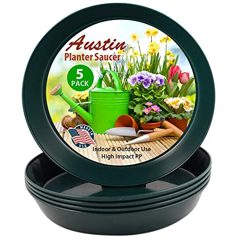 Austin Planter 21 Inch (19 Inch Base) Case of 5 Plant Saucers - Hunter Green Polypropylene – Heavy Duty Indoor/Outdoor Tray and Drip Pan – Collects Flower Pot Drainage and Excess Water– Made in USA