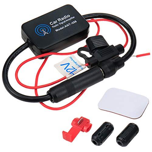 AUTUT DC12V Auto Car FM Radio Antenna Booster Set Signal Strengthen Amplifier 25dB