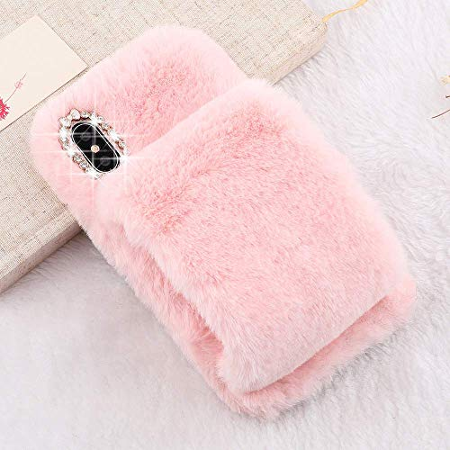 Plush Case for iPhone 6 Case iPhone 6S LAPOPNUT Luxury Furry Fluffy Case Soft Faux Fur Fuzzy Mittens Design Cover with Bling Glitter 3D Diamond Bowknot Protective Case for Girls,Pink