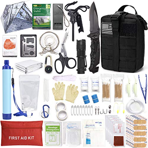 Survival Gear and Equipment, First Aid Kit - with Molle System Compatible Outdoor Gear Emergency Kits Trauma Bag for Camping Boat Hunting Hiking Home Car Earthquake and Adventures