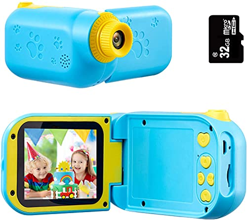 SunChen Kids Video Camera, Camcorder for Kids, 2.4IN 1080P Children Video Recorder Kids Camera for Toddler Girls Boys 3-9 Years Old, Birthday Gifts for Boys and Girls,32GB SD Card-Blue