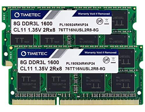 Timetec 16GB KIT(2x8GB) DDR3L / DDR3 1600MHz PC3L-12800 / PC3-12800 Non-ECC Unbuffered 1.35V / 1.5V CL11 2Rx8 Dual Rank 204 Pin SODIMM PC Laptop Notebook Computer Memory RAM Module Upgrade