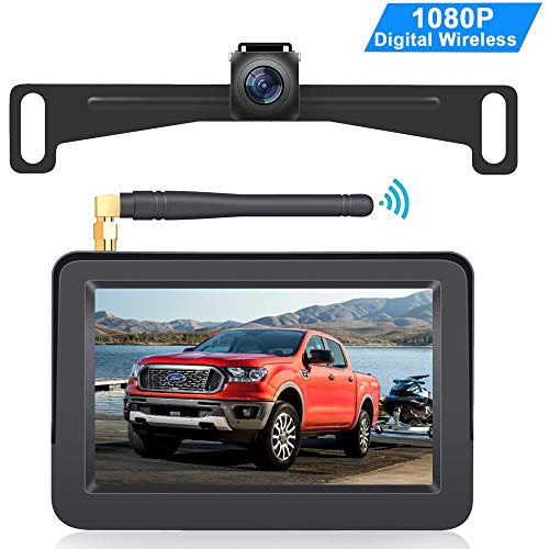 LeeKooLuu HD 1080P Digital Wireless Backup Camera Monitor Kit with Two Wireless Video Channels Hitch Rear View Camera System for Trucks,Campers,Cars,Van Stable Digital Signal LK2