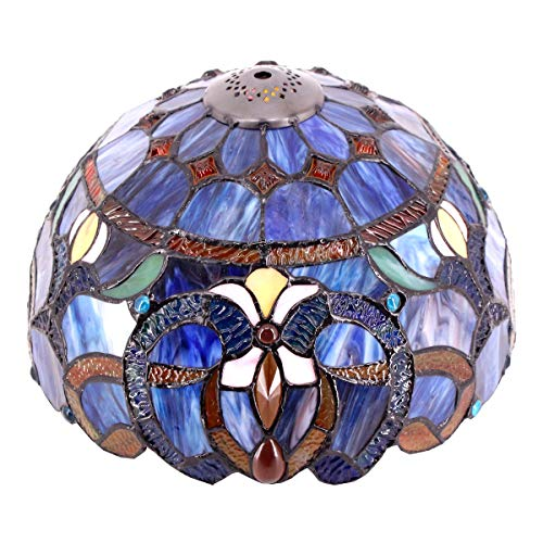 Tiffany Lamp Shade Replacement W12H6 Inch Blue Purple Cloud Glass Style For Table Lamps Ceiling Fixture Pendant Light S558 WERFACTORY Parent Friend Lover Kid Living Room Study Desk Nightstand Bedside
