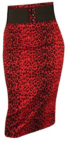 Switchblade Stiletto Womens Waist Belt Skirt in Red Leopard- Small