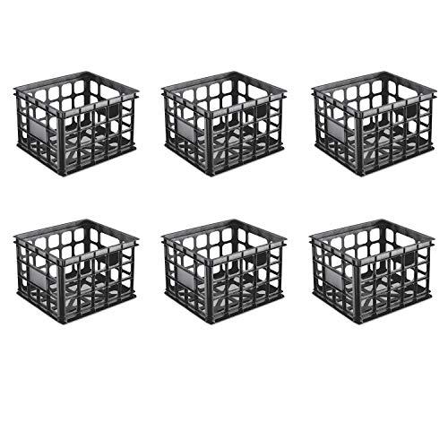 Sterilite 16929006 Storage Crate, Black, 6-Pack