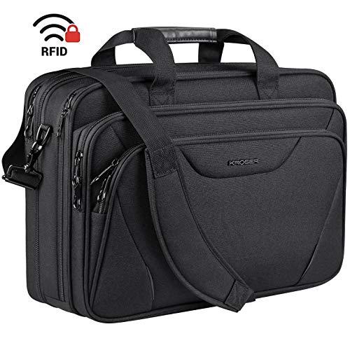 KROSER 18' Laptop Bag Premium Laptop Briefcase Fits Up to 17.3 Inch Laptop Expandable Water-Repellent Shoulder Messenger Bag Computer Bag for Travel/Business/School/Men/Women-Black