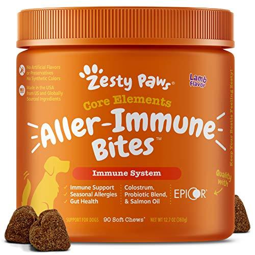 Zesty Paws Allergy Immune Supplement for Dogs Lamb- with Omega 3 Wild Alaskan Salmon Fish Oil & EpiCor + Digestive Prebiotics & Probiotics - Anti Itch & Skin Hot Spots + Seasonal Allergies - 90 Chews
