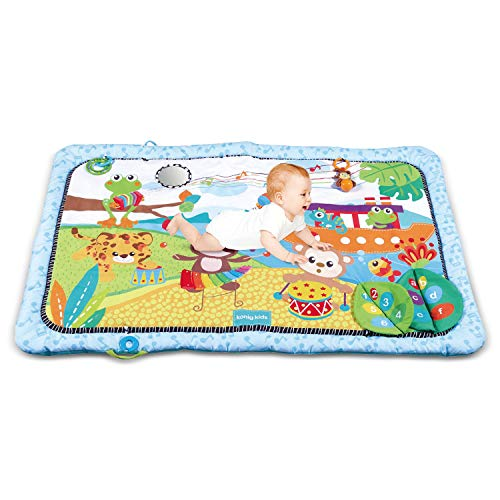 Baby Play Mat with Rattles Toys, Tummy Time Mat, Large Activity Play Mat, Baby Play Gym, Crawling Cushion, Early Development Activity Center for 0 Month+ Infants Newborns Toddlers Boys Girls(149x98cm)
