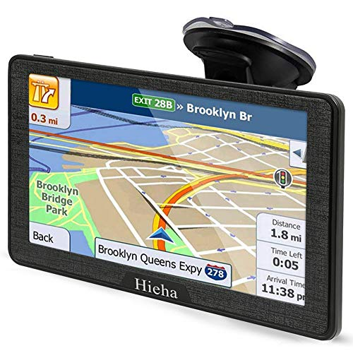 Hieha 7 Inches Navigation System for Car Truck Vehicles with Pre-Loaded Latest US/CA/MX Maps, 8GB 256Mb Touch Screen GPS Navigation Device with Car Bracket Holder, Lifetime Free Map Updates