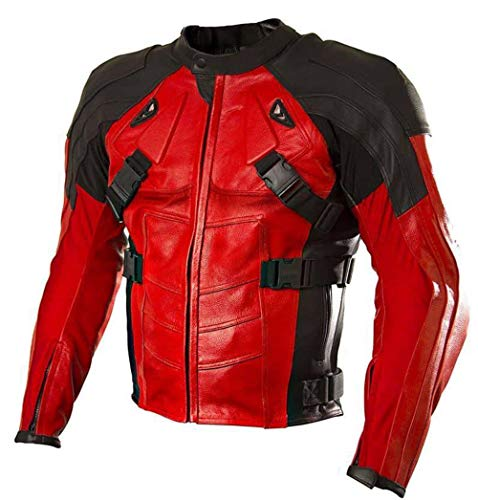 Armored Style Dead Red Bikers Leather Jacket - Red Black leather jacket men