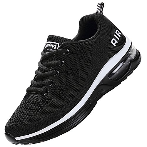 JARLIF Men's Lightweight Athletic Running Shoes Breathable Sport Air Fitness Gym Jogging Sneakers (10 D(M) US, Black)