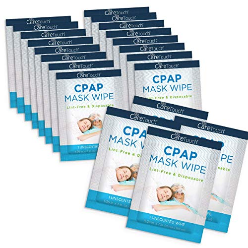 Care Touch CPAP Travel Mask Wipes | 20 Individually Wrapped CPAP Wipes - Unscented | Cleans CPAP, BiPAP, or Other Pap Masks