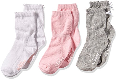 Robeez Baby Toddler Girls' 3 Pack Socks, Basics - Pink/Grey/White, 2T-4T