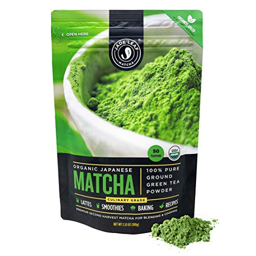 Organic Matcha Green Tea Powder by Jade Leaf - Authentic Japanese Origin - Premium 2nd Harvest Culinary Grade [100 Grams]