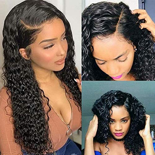Brazilian Water Wave Curly Lace Front Wigs Glueless Lace Front Human Hair Wigs For Women Black Pre Plucked Lace Front Wigs 150% Density Human Hair 13x4 Ear to Ear Lace Frontal 20 Inch