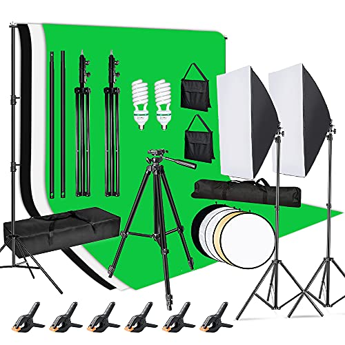 Mountdog Photography Lighting Kit 6.6x10ft Background Support System Softbox Continuous Lighting Kit for Photo Studio Product,Portrait and Video Shoot Photography