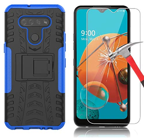 Yiakeng LG K51 Case with Screen Protector Shockproof Silicone Protective with Kickstand Hard Phone Cover for LG K51 (Blue)