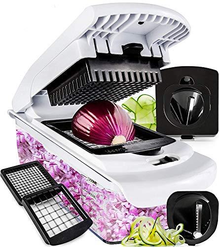 Fullstar Vegetable Chopper - Spiralizer Vegetable Slicer - Onion Chopper with Container - Pro Food Chopper - Black Slicer Dicer Cutter - 4 Blades