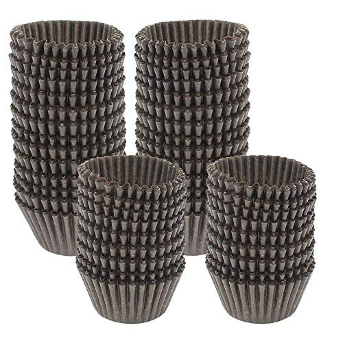 Dreamtop 1000 Pieces Mini Brown Cupcake Liners Mini Baking Cups Cupcake Liners Chocolate Paper Candy Cups Muffin Wrappers, Brown