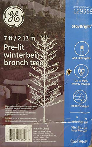 GE 7 Ft. White Winterberry Christmas Holiday 400 LED Tree