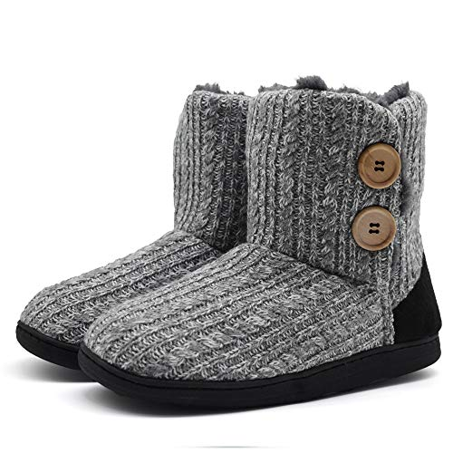 ONCAI Fluffy Faux Fur Slipper Boots Women Soft Cozy Memory Foam Midcalf Booties Indoor House Pull on Shoes Light-Grey