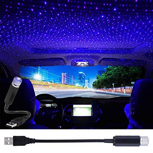 USB Star Projector Night Light, LEDCARE Car Roof Lights, Portable Adjustable Romantic Violet Blue Interior Car Lights, Portable USB Night Light Decorations for Car, Ceiling, Bedroom (Blue)