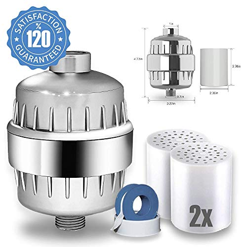 Shower filter - For hair, baby and nails healthy, silky and shiny from the first wash - Removes chlorine, heavy metals, Dandruff, Eczema, Hard Water Softener - Universal Shower Aqualutio