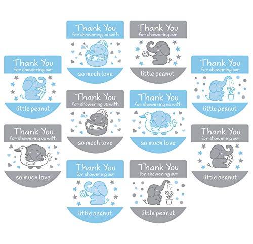 Set of 120 Baby Shower Favor Labels Mini Bottle Labels Hand Sanitizer Labels-Thank You Stickers for Baby Shower Favors(Blue)