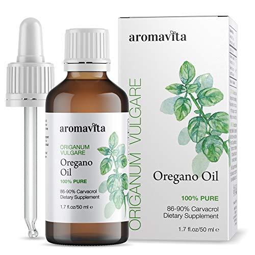 Aromavita Essential Oil of Oregano - 100% Pure Undiluted, Non GMO, Extra Strength Organic Greek Oregano Oil - Over 86% Carvacrol Oregano Extract Liquid Nutritional Supplement (1.7 FL.OZ/50ML)