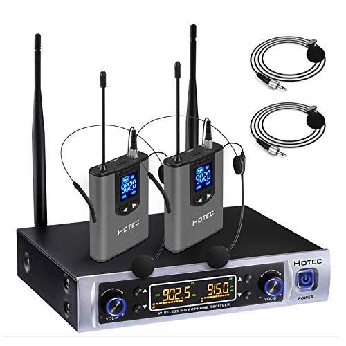 Hotec UHF Dual Wireless Microphone System with Lapel Lavalier and Headset Microphones Over PA, Mixer, Speaker, Karaoke Machine for Church, Training, Classroom, Interview (H-K25)