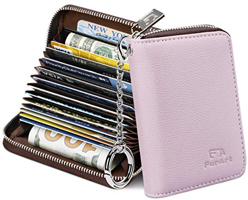 FurArt Credit Card Wallet, Zipper Card Cases Holder for Men Women, RFID Blocking, Key Chain,Compact Size