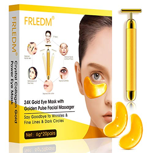 24K Gold Under Eye Mask– 20 Pairs- Under Eye Patches with Face Massager Roller, Anti-Aging Hyaluronic Acid Collagen Under Eye Pads for Moisturizing &Reducing Dark Circles Puffiness Wrinkles Treatment