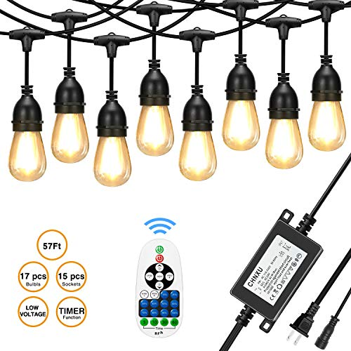 [Upgraded] CHNXU 57ft LED Outdoor String Lights Waterproof with DC 24V Low Voltage Transformer and Remote Control Dimmer,15+2spare LED Hanging Vintage Bulbs for Decorative Patio Backyard - Warm White