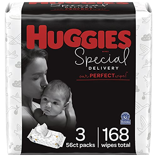 Hypoallergenic Baby Wipes, Unscented, Huggies Special Delivery Baby Diaper Wipes, 3 Flip-Top Packs (168 Wipes Total)