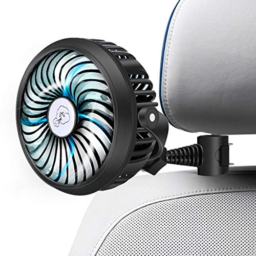Car Fan 2200mAh Battery Powered Mini Car Fan,Personal Cooling Vehicle Fan with Quiet 3 Speed 360° Rotatable Function for Car, Rear&Back Seat Passenger, Dog, Bike, Camping