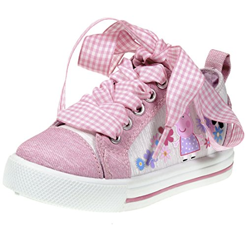 Peppa Pig Kids Toddler Girls Pink Canvas Fashion Floral Low Top Lace Up Sneakers